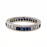 Estate .80ct Princess Cut Diamond Square Sapphire Size 7 Eternity Band Ring