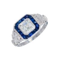 Estate Asscher 1.06ct Diamond Art Deco Ring 1930 Calibre Sapphire Platinum Halo