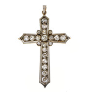 Antique 1875 Platinum 18k 2.85ct Old Mine Brilliant Cut Diamond Cross Pendant