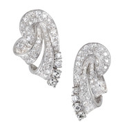 Diamond Platinum Swirl Earrings c1945