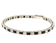 Vintage  1920 Platinum 2.20ct Diamond Onyx Hinged Link Bracelet