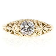 Estate Filigree 14k Yellow Gold Diamond Transitional Cut .43ct Engagement Ring