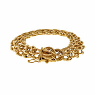 Vintage 1950 Double Spiral Links Charm Link 14k Yellow Gold Bracelet