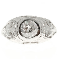 Antique Art Nouveau 1890 1.10ct Mens Platinum Diamond Ring