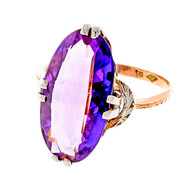 Vintage Retro 1940's Pink White Gold 4.50ct Amethyst Ring
