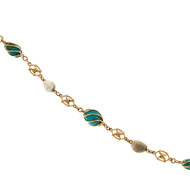 Antiques Arts & Crafts 1895 14k Handmade Freshwater Pearl & Turquoise Bracelet