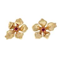 Vintage Retro 1940 14k Yellow Gold .30ct Ruby Flower Earrings