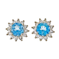 Estate 2.85ct Aqua Diamond 14k White Gold Diamond Earrings