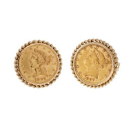 Vintage 1960 1897 US Gold Coin Liberty Head 14k Cuff Links