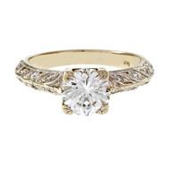 Handmade 0.91ct Hand Engraved Diamond Engagement Ring 14k White Gold