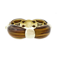 Van Cleef & Arpels  Vintage Bangle Bracelet 18k Yellow Gold Tiger Eye Certified