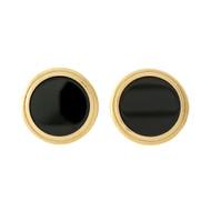 Vintage 1970 Larter & Co Black Onyx Earrings 14k Yellow Gold Clip Post