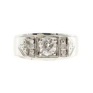 Men's Retro Diamond Ring 14k White Gold With Hand Engraving & Diamond Accents
