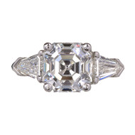 Peter Suchy Asscher Diamond Engagement Ring Platinum Bullet Cut Side Diamonds
