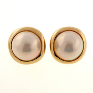 Estate 16mm Extra Fine 14k Gold Clip Post Mobe Pearl Earrings