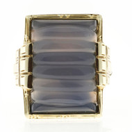 Art Deco natural Blue Chalcedony 1935 14k White Gold Ring