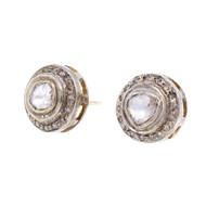 Antique Victorian Rose Cut Diamond Earrings Silver Top 14k Yellow Gold