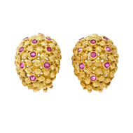 Vintage Spitzer & Furman Earrings 18k Yellow Gold Clip Post
