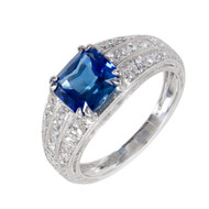Peter Suchy Square Cornflower Blue Sapphire Engagement Ring Platinum Diamond