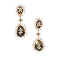 Vintage 14k Raised Wire Set Fine Brown Topaz Diamond Dangle Pierced Earrings