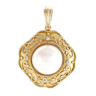 Estate Mobe Pearl Pendant Enhancer Diamond 14k Yellow Gold