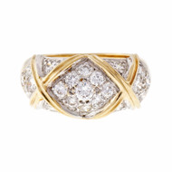 """Peter Suchy Diamond Dome Ring 14k Yellow Gold """"X"""" Design"""
