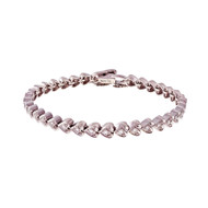 Estate Heart Diamond Bracelet Hinged Link 14k White Gold