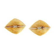 Vintage 1950 Diamond Cuff Links Textured 3-D Marquise Shape 14k Yellow Gold