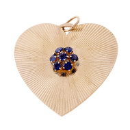 Tiffany & Co Large Gold Sapphire Heart Pendant