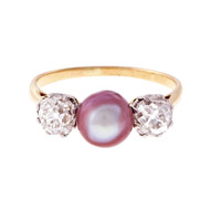 Natural Purple Pink Pearl Victorian Ring 18k White Gold Old Mine Diamond Ring