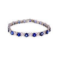 "Bright Blue Sapphire Diamond Bracelet ""XO"" Design 18k White Gold"