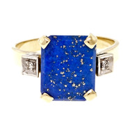 Vintage 1950 Fine Lapis Ring Diamond Accents 14k Yellow Gold