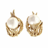 Retro 1960 Baroque Cultured Pearl Earrings 14k Yellow Gold Textured