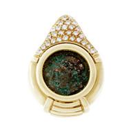 Estate Ancient Coin Pendant Enhancer 18k Yellow Gold Diamond Pavé