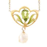 Victorian Art Nouveau 1900 Pendant Natural Pearl Pendant GIA Certified 14k Gold