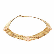 Antique Retro 1940 Mesh Necklace Pink & Yellow 14k Gold