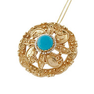 Vintage 1940 Turquoise Pin Pendant 14k Yellow Gold Granulation