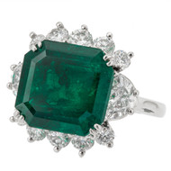 7.50ct Square Emerald Cut Colombian Emerald Platinum Diamond