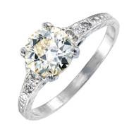 Vintage Old European Cut Diamond Engagement Ring Natural Light Yellow Platinum