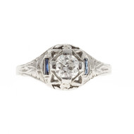 Estate Art Deco 1930 Filigree Ring 18k White Gold European Cut Diamond Ring