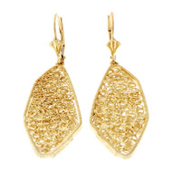 Estate Handmade Open Work Asymmetrical 14k & 18k Gold Earrings
