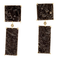 Peter Suchy Black Tourmaline Dangle Earrings 18k Yellow Gold Crystal Slices