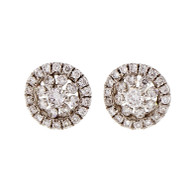 Estate Memoire Diamond Bouquet Earrings 18k White Gold Diamond