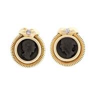 Vintage Italian Carved Black Onyx Earrings 14k Yellow Gold Diamond