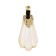 Designer AD Mother Of Pearl Enhancer Pendant Onyx Diamond 18k Yellow Gold