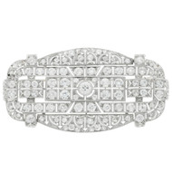 Estate Large Art Deco Diamond Pin Old European Cut Diamonds Platinum