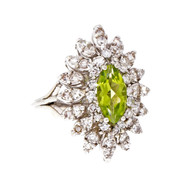 Estate Cocktail Ring Marquise Peridot Diamond 1960