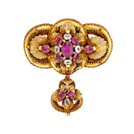 Antique Georgian 1830 Pin Natural Garnet Beryl 14k Yellow Gold Patina