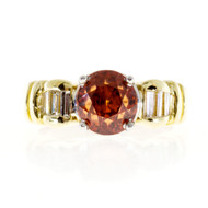 Estate Vivid Orange Natural Zircon Ring 18k Gold Platinum Baguette Diamonds