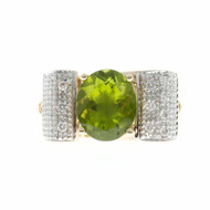 Estate Oval Peridot Ring Swirl Diamond Top 14k Yellow Gold